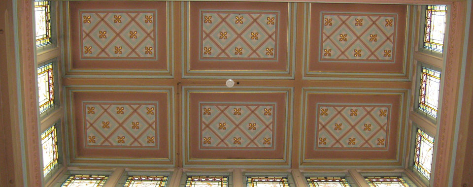 Orwell & Peter Phillips heritage conservation architecture - Ceiling of former billiard room at Carleton, Summer Hill